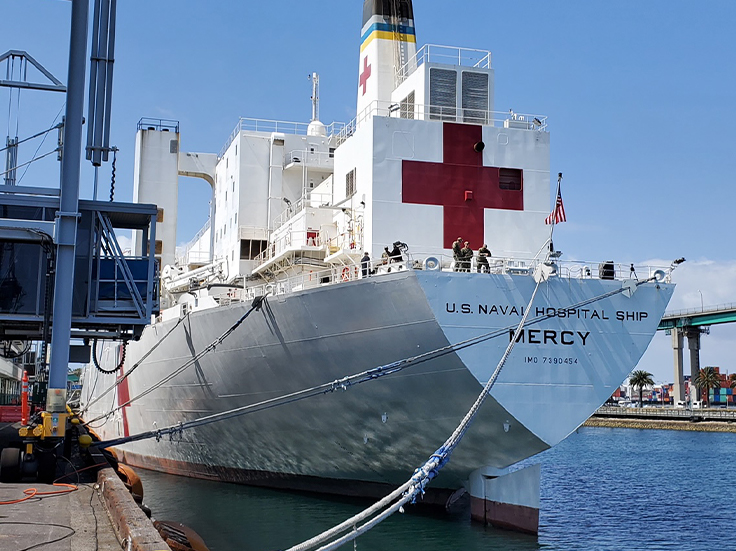 Naval Hospital Ship Mercy at dock in New York