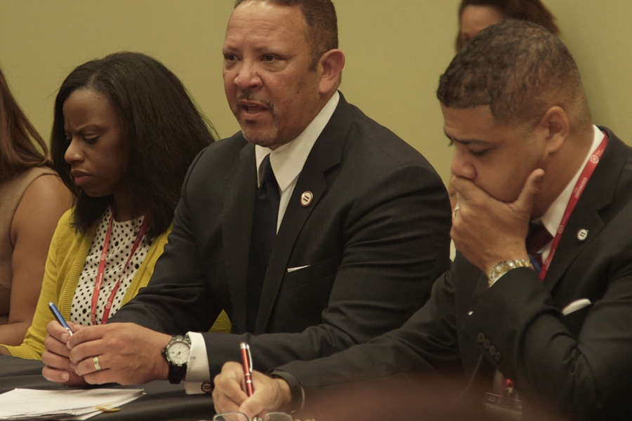 An image of Marc Morial, President and CEO of the National Urban League, speaking at their annual conference.