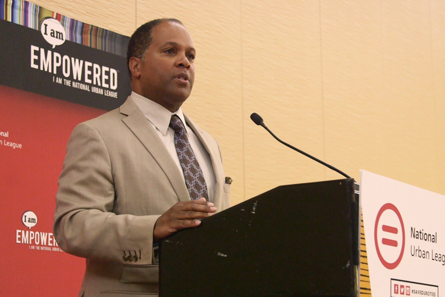 An image of C. Howie Hodges, Charter's Vice President of External Affairs, speaking at the National Urban League Conference